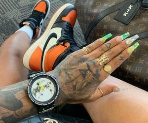 chanel bag, nails, and Tattoos image