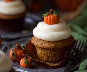 cupcake, food, and pumpkin image