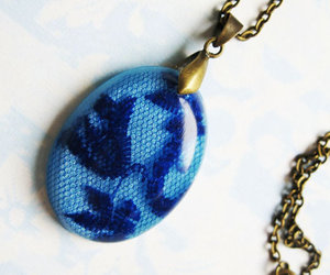 blue, etsy, and resin necklace image