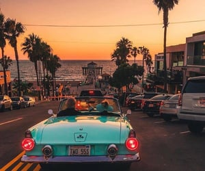 beach, car, and sunset image