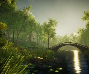 bridge, fantasy, and forest image