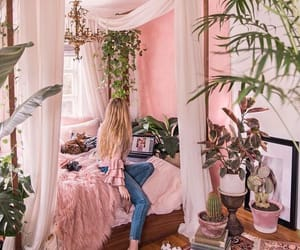 pink, bedroom, and plants image