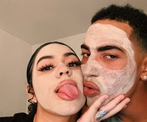 couple, love, and face mask image