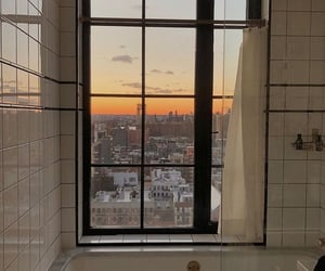 bathroom, city, and decor image