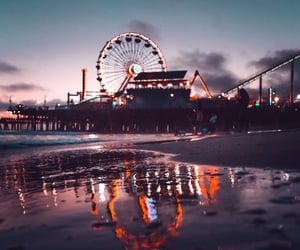 amusement park, beach, and night image