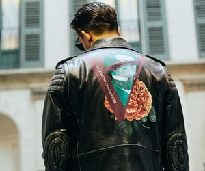 leather jacket, man, and rapper image