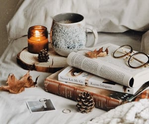 autumn, leaves, and books image