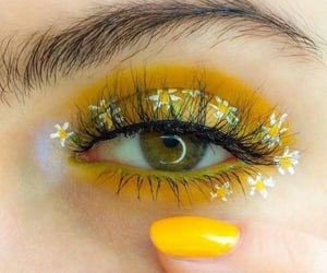 yellow, makeup, and flowers image