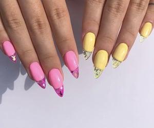 nails, acrylic, and pink image