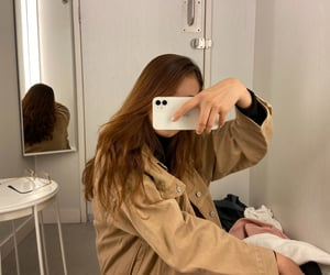 brown, mirror selfie, and fashion image