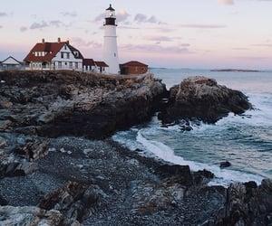 landscape, sea, and lighthouse image