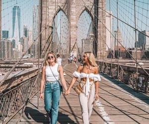 angelica blick, blonde, and brooklyn bridge image