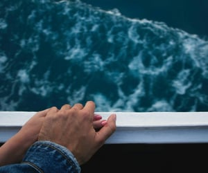 couple, hands, and ocean image