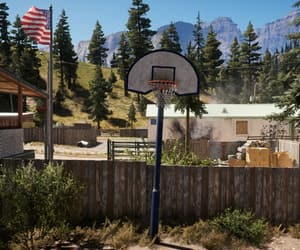 Basketball, trailer park, and fence image