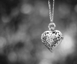 heart, necklace, and black and white image