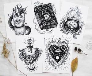drawing, heart, and tarot image
