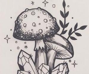 crystals, drawing, and mushroom image