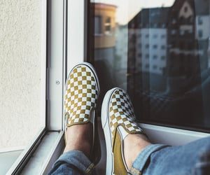 sneakers, checkerboard, and fashion image