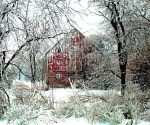 barn, cabin, and season image