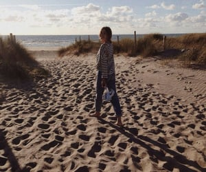 alone, autumn, and beach image