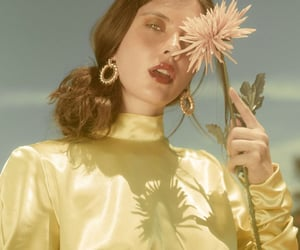 face, fashion model, and flowers image