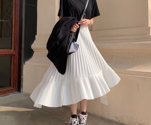 long skirt, white skirt, and yesstyle image