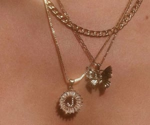 gold, gold chain, and necklace image