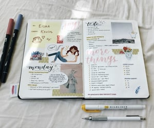 journal, stationery, and weekly spread image