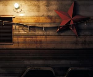 dark, red star, and rusted image