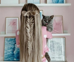 beautiful, blonde, and cat image