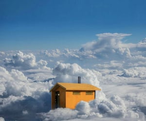 blue, clouds, and hut image