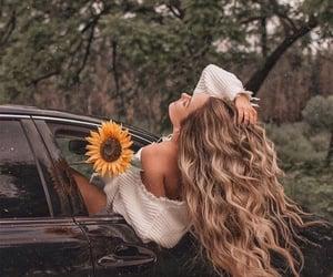 hair, car, and girl image
