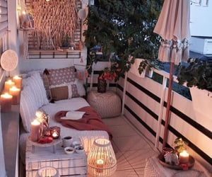 balcony, blankets, and candles image