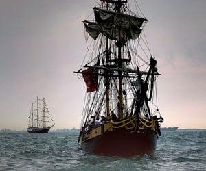 ocean, pirate, and ship image