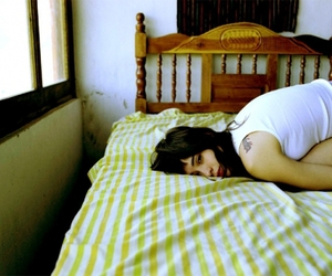 bed, girl, and stripes image