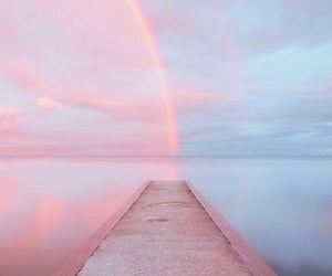 rainbow, pink, and sky image