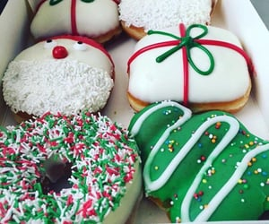 christmas, donuts, and snow image