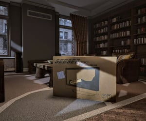 apartment, bookcase, and box image