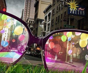 glasses, balloons, and city image