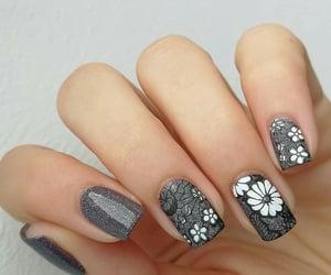girl, grey, and nail art image