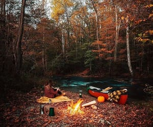 autumn, autumnal, and campfire image