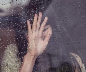 rain, girl, and window image