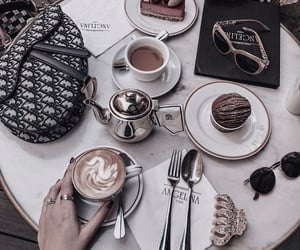 cappuccino, coffee, and food image