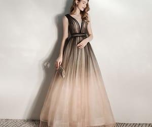 black dress, girl, and long dress image
