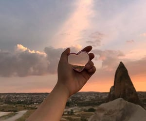 aesthetic, heart, and sunset image