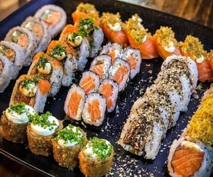 cheese, food, and sushi image