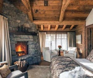 bedroom, cabin, and rustic image