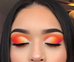 makeup, orange, and girl image