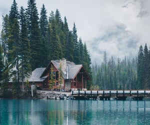 lodge, lake, and travel image