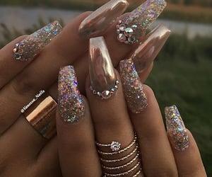fake nails, make-up, and girls nails image